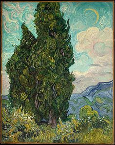 """Van Gogh 1889.""""Cypresses"""" was painted in late June 1889, shortly after Van Gogh began his yearlong voluntary stay as a patient in the asylum in Saint-Rémy. The subject, which he found """"as beautiful of line and proportion as an Egyptian obelisk,"""" both captivated and challenged the artist: """"It is a splash of black in a sunny landscape, but it is one of the most interesting black notes, and the most difficult to hit off exactly that I can imagine."""""""