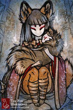 Когда кицунэ получают девять хвостов, их мех становится серебристым, белым, или золотым. Эти кюби но кицунэ («девятихвостые лисицы») получает силу бесконечной проницательности.