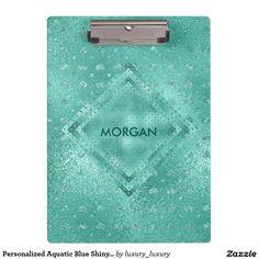 Personalized Aquatic Blue Shiny Clipboard