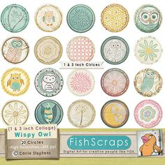 Sale 40% 1 inch Collage Sheet - 3 inch Circle Printable - Owl Party Circles - Owl Digital Images - Cupcake Toppers, Cachabons, Bottle Caps  on Etsy, $2.85