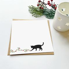 A funny Christmas card for a cat lover! Our cards are all supplied with a rough kraft envelope in a cello bag and are delivered to you in a hardboard envelope to protect from the elements. Cat Christmas Cards, Naughty Christmas, Christmas Doodles, Watercolor Christmas Cards, Christmas Drawing, Xmas Cards, Holiday Cards, Christmas Card Making, Harry Potter Birthday Cards