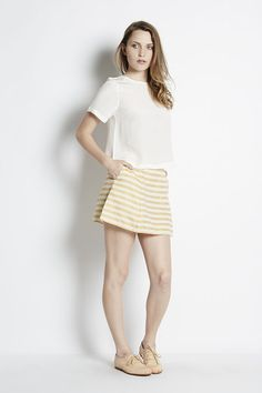 Striped Canvas A-line Mini | Adela Mei Petite Boutique