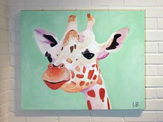 Giraffe Painting Canvas Art Original in Mint Green Purple and Orange