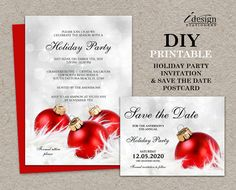 Personalized Holiday Party Invitations With Save The Date Cards by iDesignStationery - $19.95