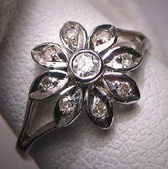 Vintage Diamond Wedding Ring White Gold Art by AawsombleiJewelry, $595.00