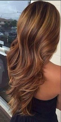 Brown Layered Hair - Hairstyles and Beauty Tppppppp This hair color Dark Brown Hair With Caramel Highlights, Hair Highlights, Carmel Highlights, Color Highlights, Summer Highlights, Caramel Brown, Low Lights And Highlights, Golden Highlights, Natural Highlights