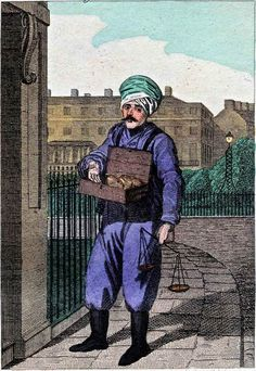 """""""Itinerant Traders of London in their Ordinary Costume with Notices of Remarkable Places given in the Background"""" by William Marshall Craig (1804): """"Rhubarb! – The Turk, whose portrait is accurately given in this plate, has sold Rhubarb in the streets of the metropolis during many years. He constantly appears in his turban, trousers and mustachios and deals in no other article."""""""