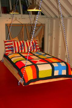 Hanging bed in the waterfront barn...