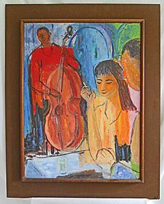 Modernist Vintage 60s Painting Night Club Cool Cats Jazz Music Cello Sandy Huge #Modernism