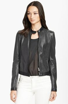 Armani Collezioni Perforated Leather Moto Jacket available at #Nordstrom