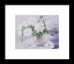 Morning With White Peonies Framed Print by Elena Antakova Original Paintings For Sale, Art Prints For Home, White Peonies, Painting Art, Peony, Still Life, Wave, Framed Prints, Tapestry
