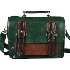 864a820612 Ecosusi Women Leather Vintage Satchel Bag Messenger Briefcase Handbag  (Green) Ecosusi
