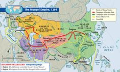 ThingLink: The Mongol Empire and Reading due Wednesday/Thursday - Mr. Banks' AP World History Page Ap World History, Mystery Of History, Asian History, Ancient History, Mongolia, Kublai Khan, Ukraine, Golden Horde, China Map