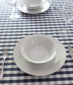 Blue and White Checked Tablecloth by anniewillows on Etsy