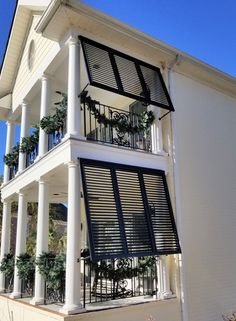 Porch and Patio Shutters for privacy and sun control. Porch shutters provide shade and decor for your outdoor living areas. Window Shutters Exterior, Farmhouse Shutters, Rustic Shutters, Diy Shutters, Window Awnings, Repurposed Shutters, Modern Shutters, Exterior Blinds, Exterior Shades