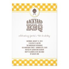 Yellow Checks Backyard BBQ Birthday Summer Party Invitation by fatfatin Check out all my SUMMER PARTY INVITATION collection here : http://www.zazzle.com/fat_fa_tin/gifts?ps=120=196939777821033947