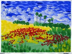 that artist woman: In the Style of van Gogh: Remembrance Day Painting (impressionism, brush strokes, 4th grade, 5th grade)