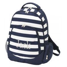 Navy Stripe Monogrammed Backpack