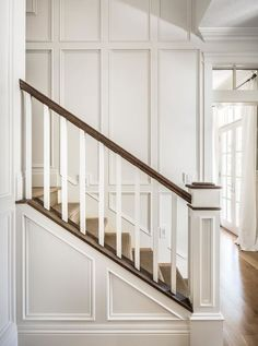 judges paneling suggests higher ceilings Interiors & 30 Facts — the Fielding Report Home Renovation, Home Remodeling, Judges Paneling, Stair Walls, Stairs Trim, Carpet Stairs, Traditional Staircase, Staircase Remodel, Wall Trim