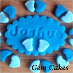 Edible baby Shower christening Blue plaques and baby feet cupcake toppers decorations for Boys Cupcake Toppers, Cupcake Cakes, Cupcakes, Gem Cake, Edible Cake Decorations, Party Treats, Baby Feet, Christening, Cake Decorating
