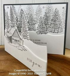 Stamped Christmas Cards, Stampin Up Christmas, Christmas Cards To Make, Christmas Greeting Cards, Greeting Cards Handmade, Cabin Christmas, Leaf Cards, Christmas Blessings, Fancy Fold Cards
