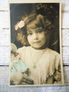 Antique doll postcard  Little girl child portrait Edwardian