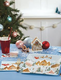 SANTA'S VILLAGE PAPER TABLEWARE by Design Design Santa's Village, Design Design, Christmas Bulbs, Entertaining, Holiday Decor, Paper, Tableware, Home Decor, Style
