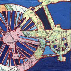 Bike Washington DC no.2 --bike art of original map painting. $17.00, via Etsy.