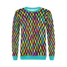 Neon Rainbow Polygon Turquoise All Over Print Crewneck Sweatshirt for Women (Model H18) | ID: D2018870