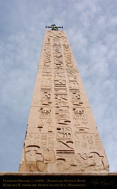 Egyptian obelisks were the ultimate trophies of Rome, representing the subjugation by Augustus of one of the oldest civilizations on Earth.  They were transported in specially made ships. This is the Flaminio obelisk, in Rome, Italy.