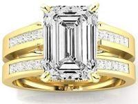 2.7 Ctw 14K Yellow Gold GIA Certified Emerald Cut Channel Set Princess Cut Bridal Set Diamond Engagement Ring Wedding Band