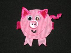 NEW PIG Girls Ribbon Sculpture Hairbow Clip by BiancasBoutiqueBows, $5.99
