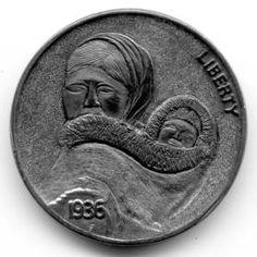 Steve Ellsworth - Amaaqtuq Hobo Nickel, Buffalo, Coins, Carving, Art, Art Background, Rooms, Wood Carvings, Kunst