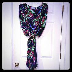 Multi-color Tunic Dress w/belt Short, round, sleeves.  Brown braided belt 7th Avenue Design Studio  Dresses Midi