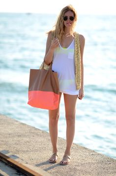 Celine Neon Bag, Neon Bathing Suit,Netural coverall, Cute sandles, shades
