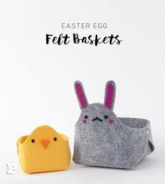 DIY Easter Egg Felt Baskets - Pysselbolaget - Fun Easy Crafts for Kids and Parents Easter Egg Crafts, Easter Eggs, Felt Bunny, Diy Ostern, Easy Crafts For Kids, Fun Crafts, Felt Diy, Textiles, Pattern Paper