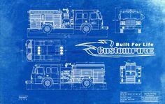 Blueprint Art of Sun City Fire Truck Fire Engine Spartan Technical Drawings Engineering Drawings Patent Blue Print Art