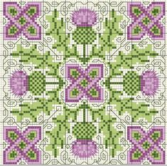 Scottish thistle biscornu cross stitch freebie -- how cool! Description from pinterest.com. I searched for this on bing.com/images