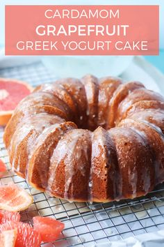 You're going to fall in love with this Cardamom Grapefruit Greek Yogurt Cake. It has just the right amount of sweetness, slightly tart from the grapefruit and moist thanks to Greek yogurt. The cardamom spice adds a nice hint of flavor too! Healthy Baking, Healthy Desserts, Just Desserts, Delicious Desserts, Healthy Munchies, Holiday Desserts, Grapefruit Yogurt Cake, Grapefruit Recipes, Citrus Recipes