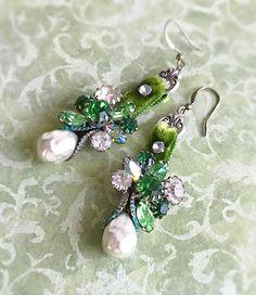 green rhinestone earrings vintage pearl earrings velvet