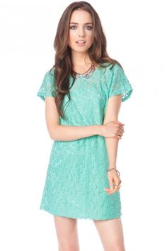 Lacey Shirt Dress in Mint