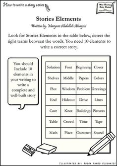 Detect Story elements - How to write a story series.In these worksheets students challenge their knowledge in writing a correct and well-built story.In first worksheet they must detect 10 terms of story elements, and in the second worksheet that includes the answer they must define the terms as best as they can.This product includes the answers for teachers.