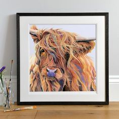 Highland Cow Wall Art Scarlett - Highland Cow - Windy Day - Cow Painting - Modern Art - Country Home - Scottish Gift - Scottish Home - Highland Decor Highland Cow Painting, Highland Cow Art, West Highland Terrier, Highland Cattle, Cow Wall Art, Scottish Highland Cow, Holstein Cows, Unique Art, Modern Art