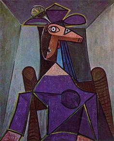 Portrait of woman - Pablo Picasso ✏✏✏✏✏✏✏✏✏✏✏✏✏✏✏✏ ARTS ET PEINTURES - ARTS AND PAINTINGS ☞ https://fr.pinterest.com/JeanfbJf/pin-peintres-painters-index/ ══════════════════════ Gᴀʙʏ﹣Fᴇ́ᴇʀɪᴇ ﹕☞ http://www.alittlemarket.com/boutique/gaby_feerie-132444.html ✏✏✏✏✏✏✏✏✏✏✏✏✏✏✏✏