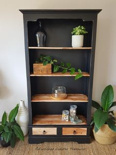 Teak Bookshelf using Fusion Mineral Paint Coal Black.  https://www.facebook.com/refurbishedcoastaltreasures/