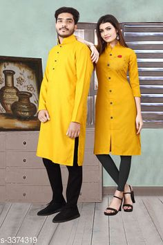 Kurta Sets Trendy Designer Slub Cotton Couple Kurta Set Fabric: Men's Kurti - Slub Cotton , Women's - Slub Cotton Sleeves: Sleeves Are Included Size: Women's Kurti - M - 38 in , L - 40 in, XL - 42 in, Men's - M - 38 in , L - 40 in, XL - 42 in Refer Size chart Type: Stitched Length: Women's Kurti - Up To 45 in, Men's Kurti - Refer Size Chart Description: It Has 1 Piece Of Women's Kurti With 1 Piece Of Men's Kurti  Pattern: Solid Sizes Available: M, L, XL, XXL *Proof of Safe Delivery! Click to know on Safety Standards of Delivery Partners- https://ltl.sh/y_nZrAV3  Catalog Rating: ★4.1 (3807)  Catalog Name: Elite Trendy Designer Slub Cotton Couple Kurtis Vol 1 CatalogID_467805 C66-SC1201 Code: 886-3374319-