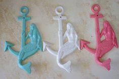 Mermaid Nursery Decor: Cast Iron Mermaid On Anchor Wall Hooks