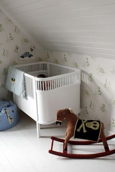 vintage nursery - white and green