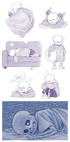 Another random idea I had that I needed to draw into a comic. If Sans can fall asleep while standing up, who's to say he doesn't have trouble with sleep walking from time to time?This is bas. Undertale Comic Funny, Undertale Cute, Undertale Fanart, Sans And Papyrus, Sans Sad, Baby Sans, Toby Fox, Undertale Drawings, Monster
