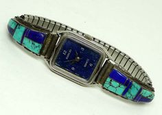 Navajo Quartz Watch & Sterling Band w Turquoise and Blue Lapis or Sodalite on Etsy, $60.00
